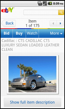 eBay search results page on a smart phone.