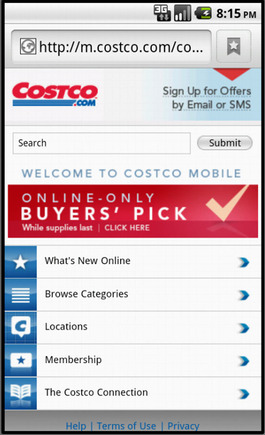 Costco home page on a smart phone.
