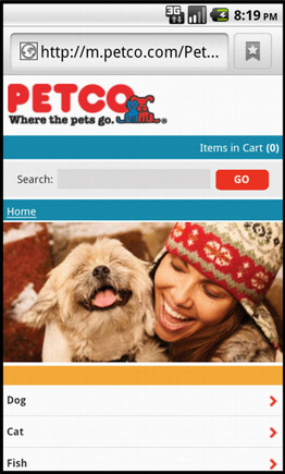 Petco home page on a smart phone.