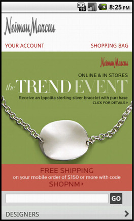 Neiman Marcus home page on a smart phone.