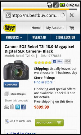 Best Buy product page on a smart phone.