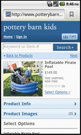 Pottery Barn Kids product page on a smart phone.