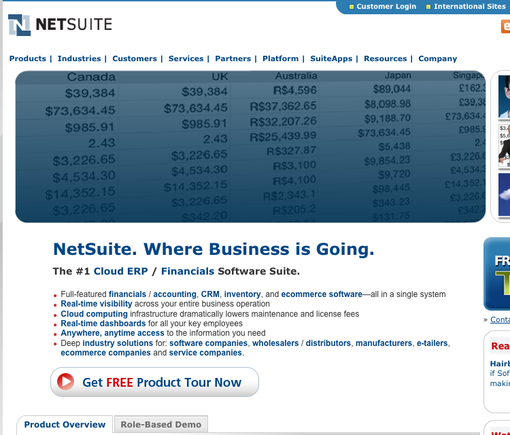 NetSuite home page.