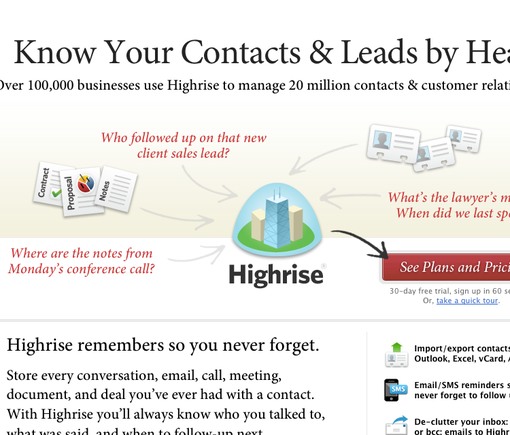 Highrise home page.