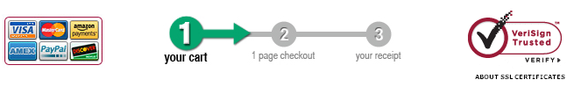 Checkout steps and payment icons tell the shopper what to expect.