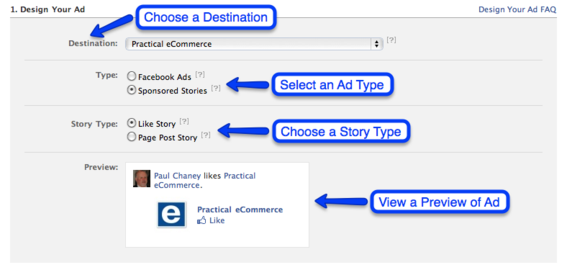 Sponsored Story ad creation process.