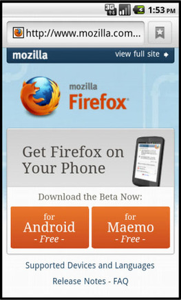 Navigate to Mozilla.com on a mobile device to get the new Firefox 4 Beta.