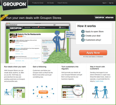 Groupon Stores home page.