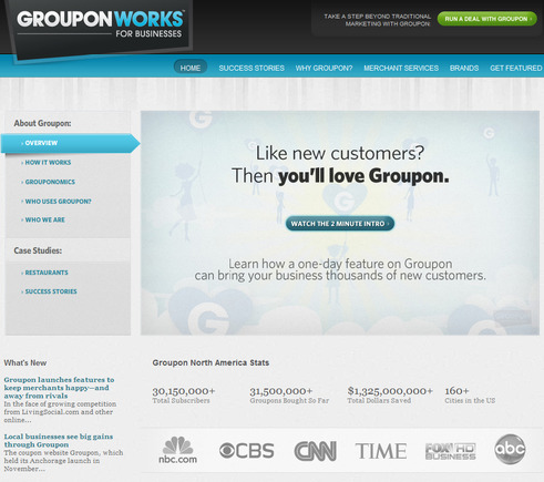 GrouponWorks home page.
