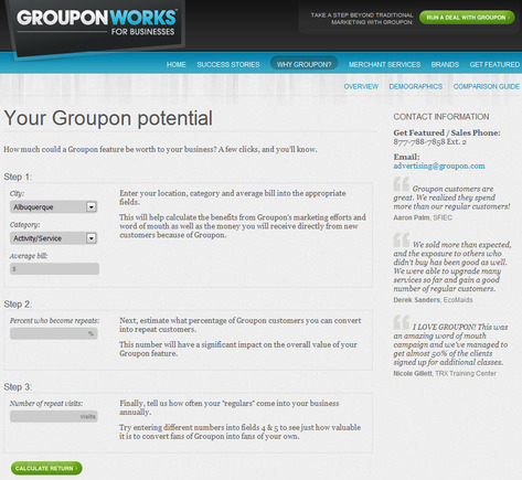 "Groupon ""Deal Optimization"" calculator."