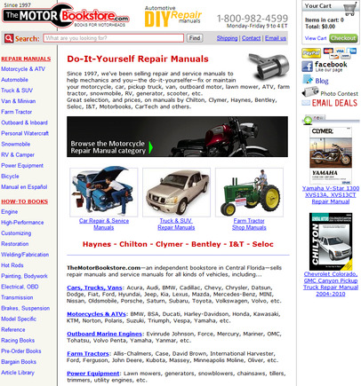 The Motor Book Store home page.