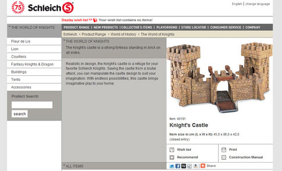 The Knight's Castle from the Schleich site.
