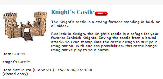 Approximately 195 online merchants copy the castle's description exactly from the manufacturer's site.