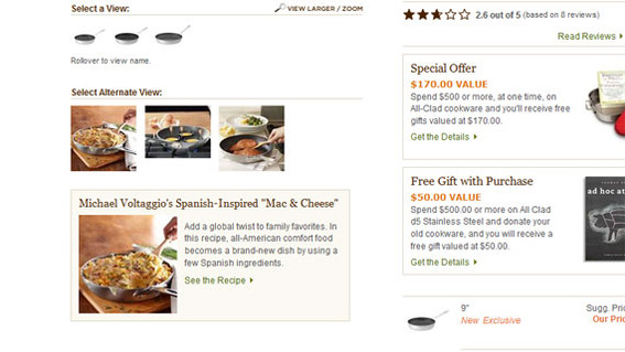 Williams-Sonoma includes recipes on many of its product detail pages.