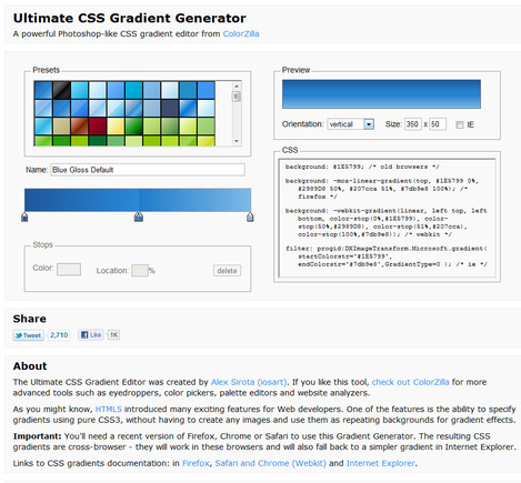 Ultimate CSS Gradient Generator home page.