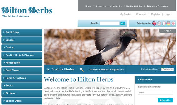 "Hilton Herbs home page, offering multi-language ""Select country"" options (top right)."