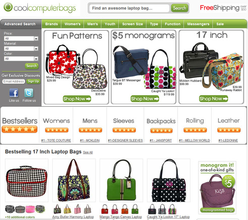 CoolComputerBags.com home page.