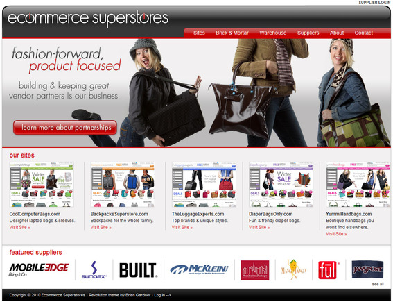 EcommerceSuperstores.com home page.