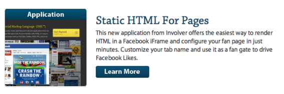 Involver calls its iframe app tool Static HTML.