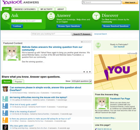 Yahoo! Answers home page.
