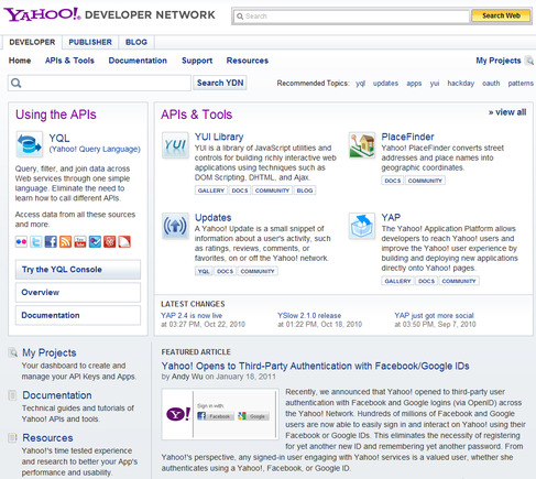Yahoo! Developer Network home page.