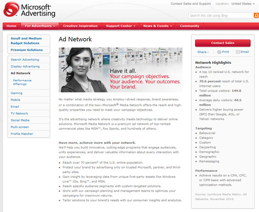 Microsoft Advertising home page.