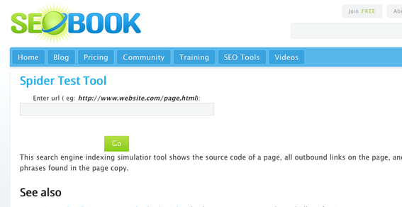 SEO Book Spider Test Tool.