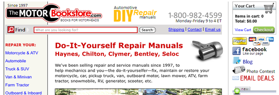 The Motor Bookstore home page.