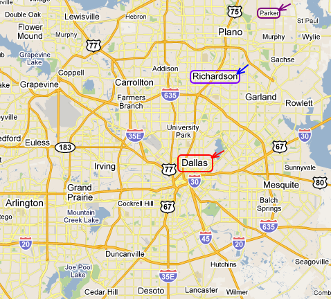 Easy access from Richardson to Dallas; not so much from Parker to Dallas.