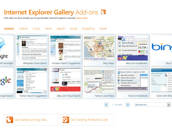 Internet Explorer Add-Ons home page.