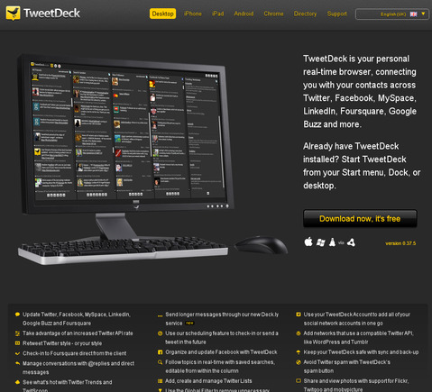 TweetDeck Desktop page.
