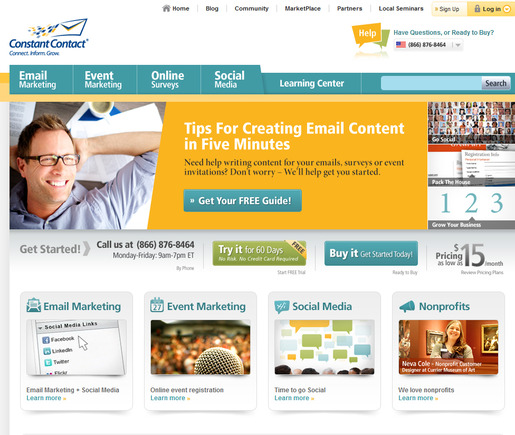 ConstantContact is a popular self-service email provider.