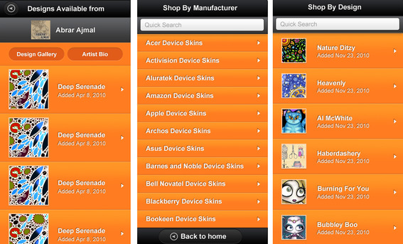 Orange product pages.