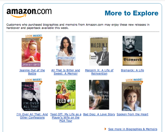 Email from Amazon.com targets buyers of biography books.