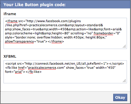 Facebook Like button code example.