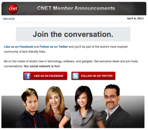 CNET email asking list members to Like the company Facebook Page.