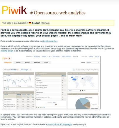 Piwik home page.