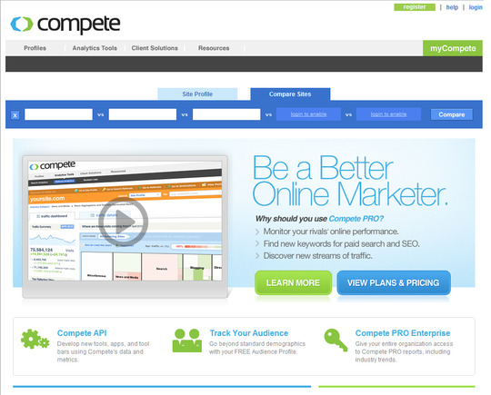 Compete home page.