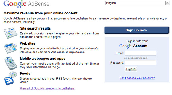 google adsense home page