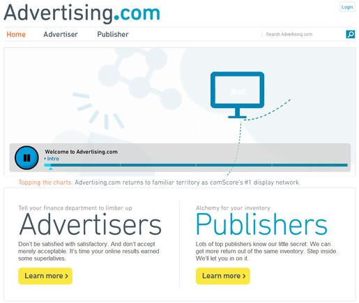 Advertising.com home page.