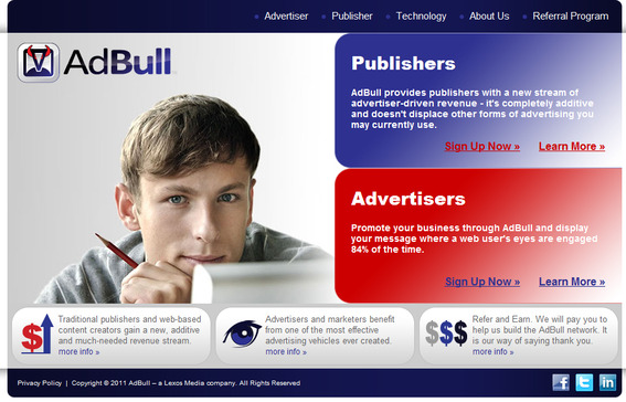 AdBull home page.