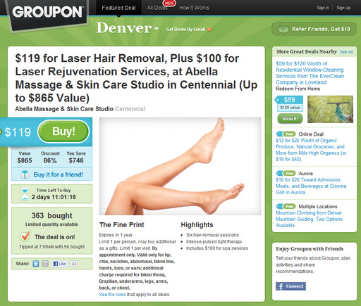 Groupon home page.