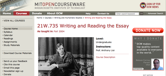 """Writing and Reading the Essay"" at MIT Open Courseware"