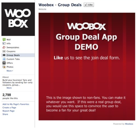 Woobox and others offer a group coupon deals app for use in Facebook.