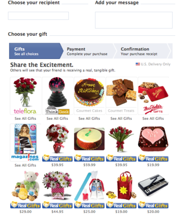 Real Gifts uses Facebook's gift shop to market products.