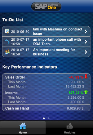 SAP Business One mobile app.
