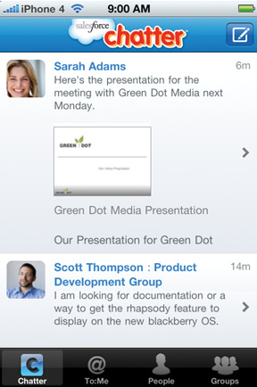 Mobile app of Salesforce Chatter.