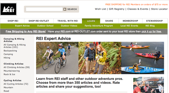 "REI's ""Expert Advice"" section."