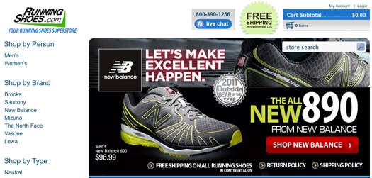 Screen capture of RunningShoes.com home page.