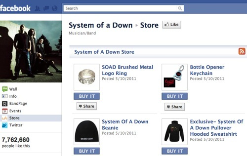 System of a Down Facebook store.